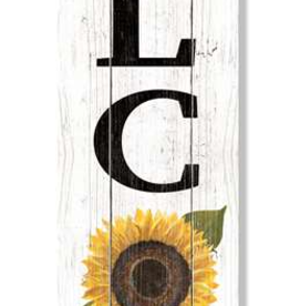 Fleurish Home Welcome - B & W Check w/ Sunflower - Porch Boards Singular