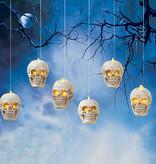 "Fleurish Home S/6  Lighted Hanging Skulls Decor 4.6""H B/O"