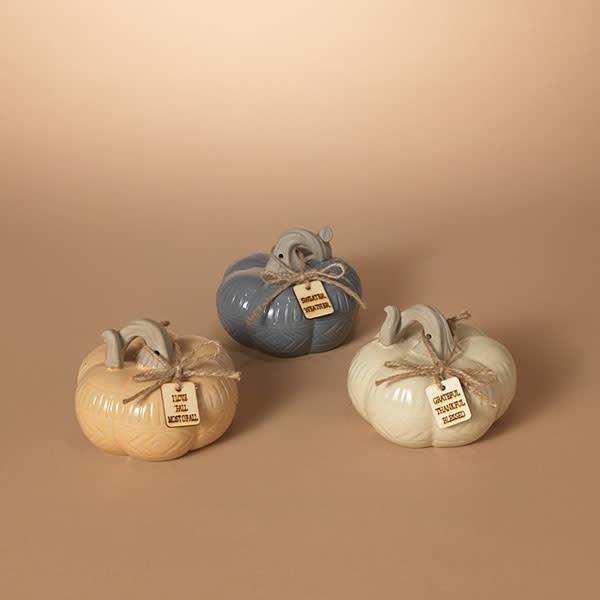 "Fleurish Home Medium Squat Ceramic Harvest Pumpkin w Tag 5.7""L (choice of 3 colors)"