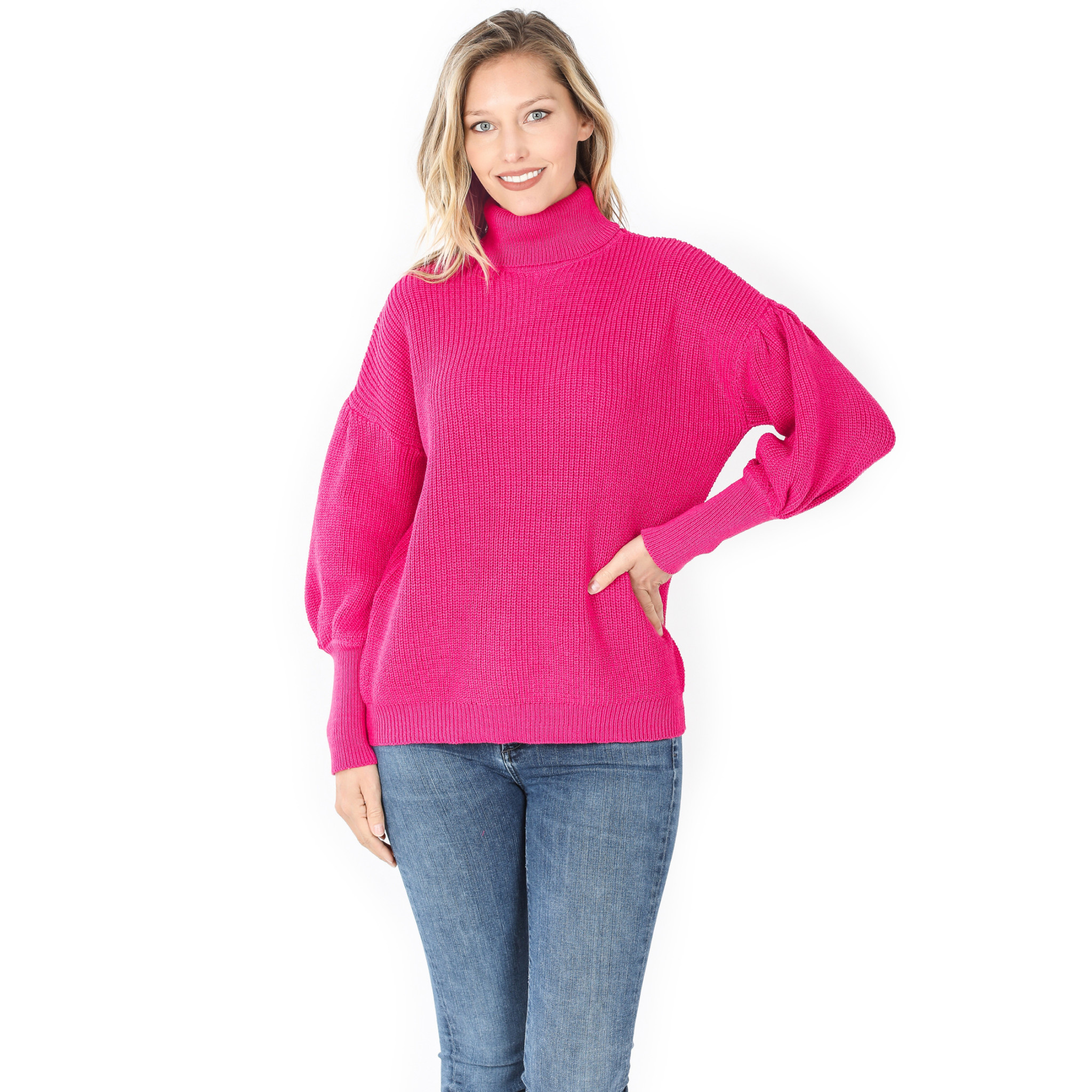 Fleurish Home Puff Sleeve Turtleneck Sweater *last chance