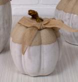Fleurish Home Small Tan & White Ceramic Pumpkin