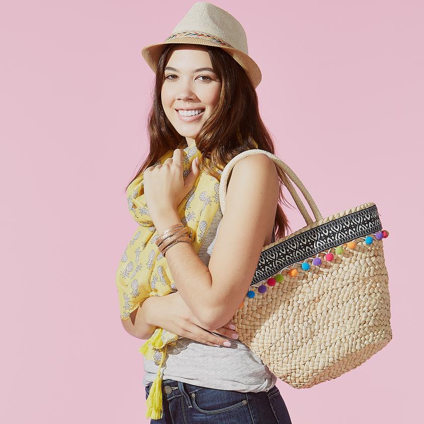 Fleurish Home Ava Pom Pom Straw Bag