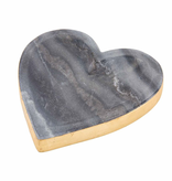Mudpie GOLD EDGE MARBLE HEART TRAY