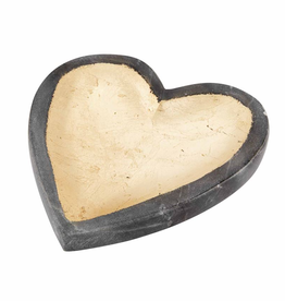 Mudpie GRAY MARBLE FOIL HEART TRAY