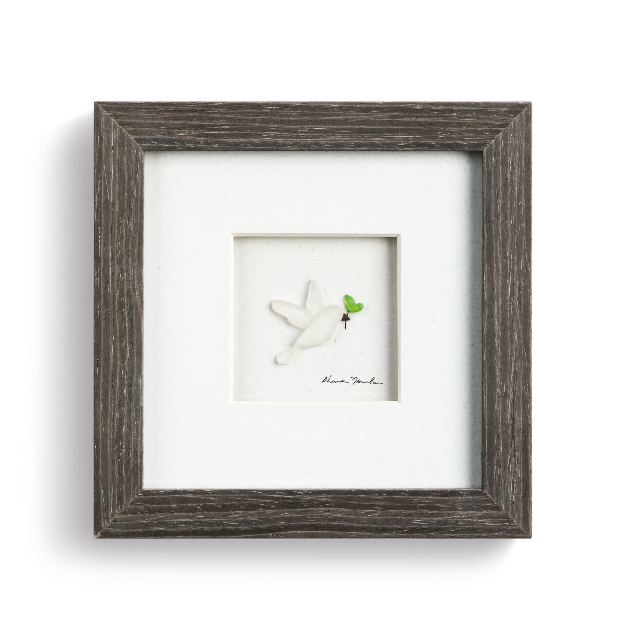 """Sharon Nowlan On the Wings of A Dove Pebble Art 6""""square"""