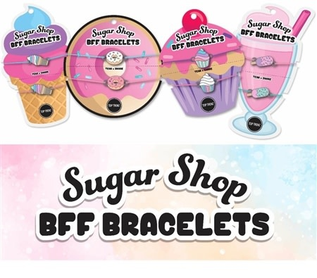Top Trenz Sugar Shop BFF BRACELETS (ea card is set of 2--various styles available)
