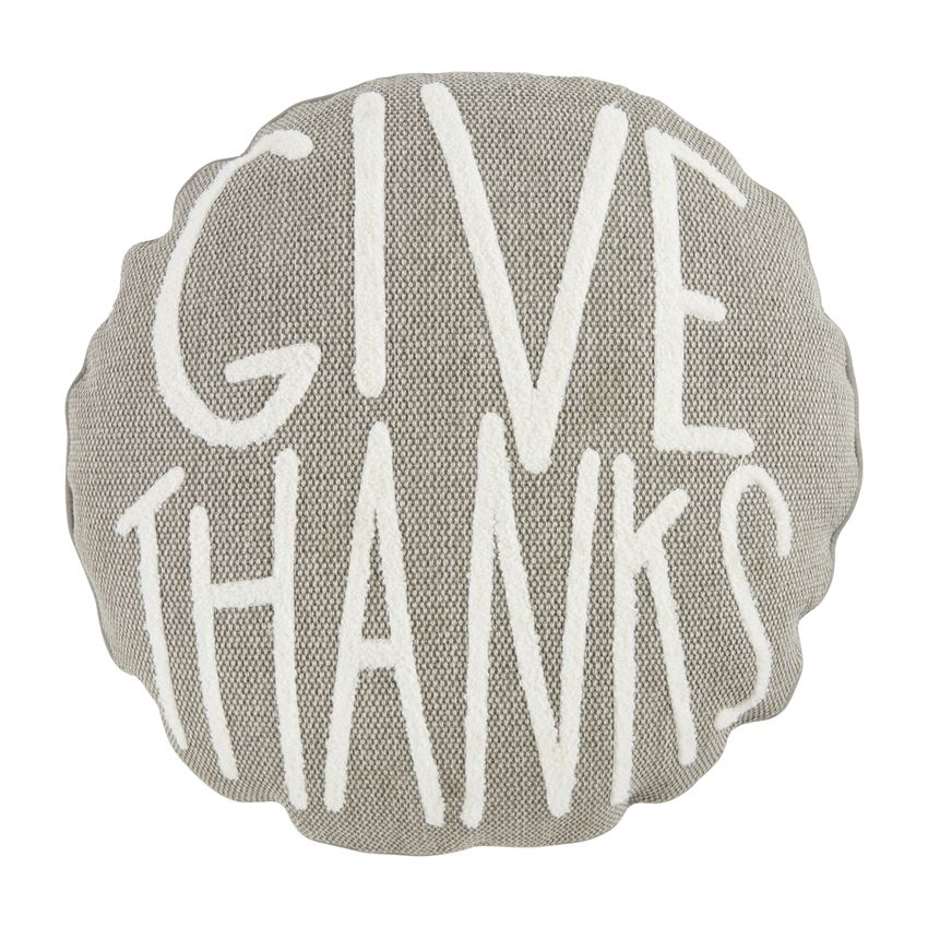 Mudpie GIVE THANKS ROUND PILLOW