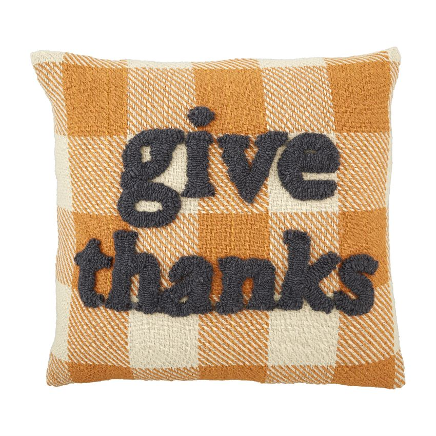 Mudpie GIVE THANKS TUFTED PILLOW