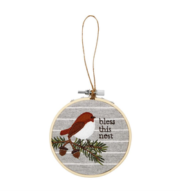 Mudpie BLESS EMBROIDERY HOOP ORNAMENT