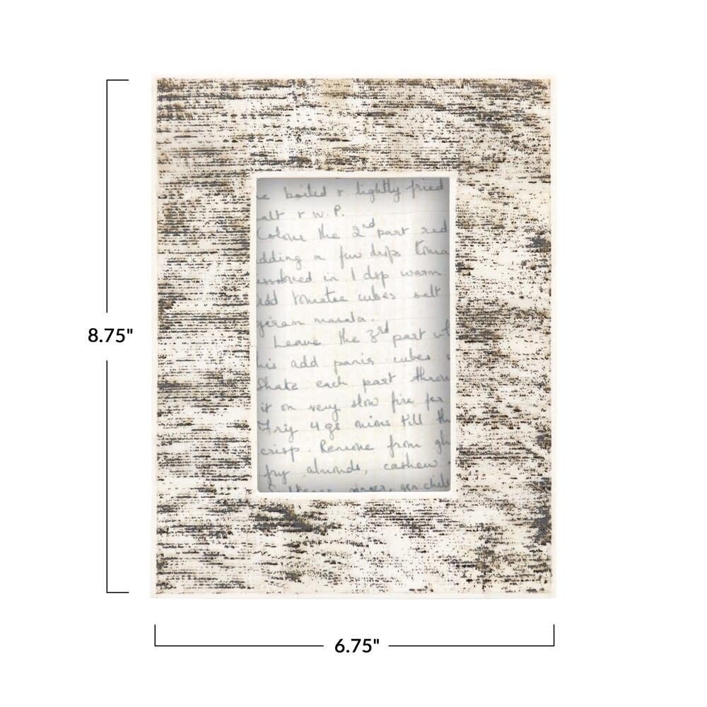 Fleurish Home Bone Photo Frame, Black & Natural 4x6