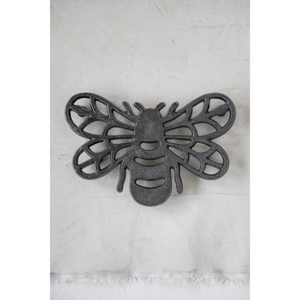Fleurish Home Black Cast Aluminum Bee Trivet