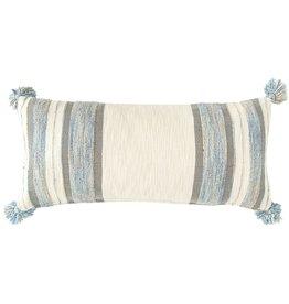 Fleurish Home Cotton & Wool Striped Lumbar Pillow (Blue/Cream/Grey)