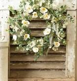 """Fleurish Home 22"""" Alabaster Poppy Wreath *last chance"""
