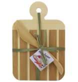 Fleurish Home Striped Paddle Serving and Cutting Board and Spreader Knife Gift Set