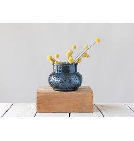 Fleurish Home Blue Hobnail Glass Vase/Candle Holder
