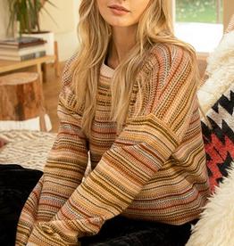 Fleurish Home Brown Mix Striped Sweater