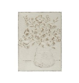 Fleurish Home Distressed White Embossed Metal Wall Decor: Flowers in Vase