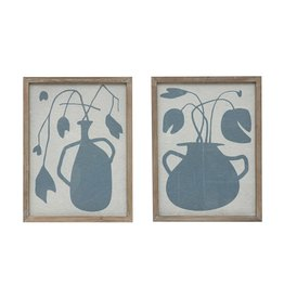 Fleurish Home Wood Framed Glass Wall Decor with Slate Colored Abstract Flowers in Vase (choice of 2 styles)