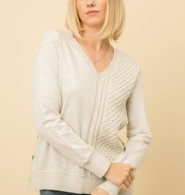 Fleurish Home Light Grey Textured Sweater with Side Buttons