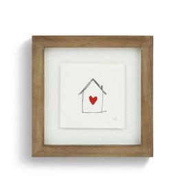 "Johanna Miller Heart-filled Home Sewn Paper Art 7.5"" Square"