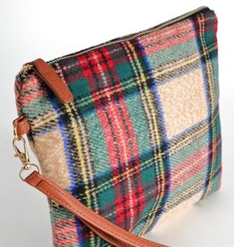 Fleurish Home Beige Tartan Plaid Crossbody/ Clutch Bag