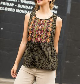 Fleurish Home Leopard Embroidered Sleeveless Top