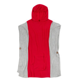 Fleurish Home Hooded Poncho Red & Grey O/S