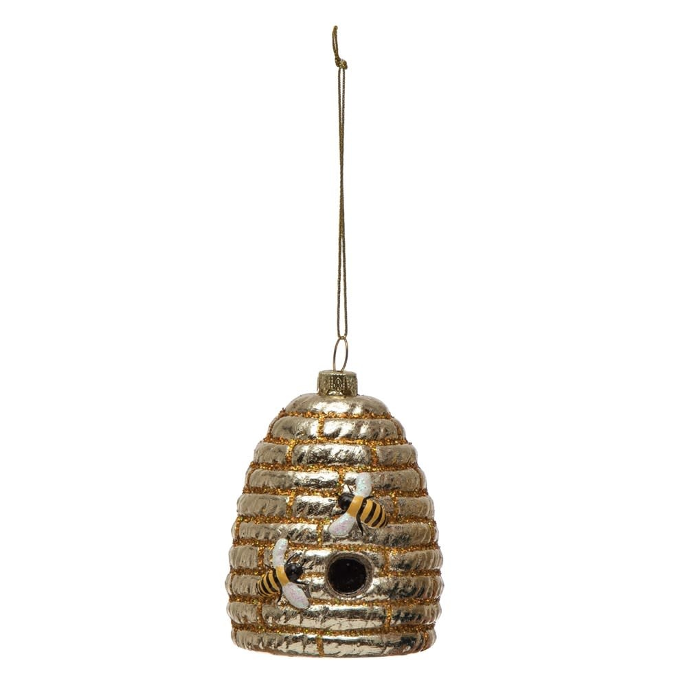 Fleurish Home Hand-Painted Glass Glitter Bee Hive Ornament w/ Bees