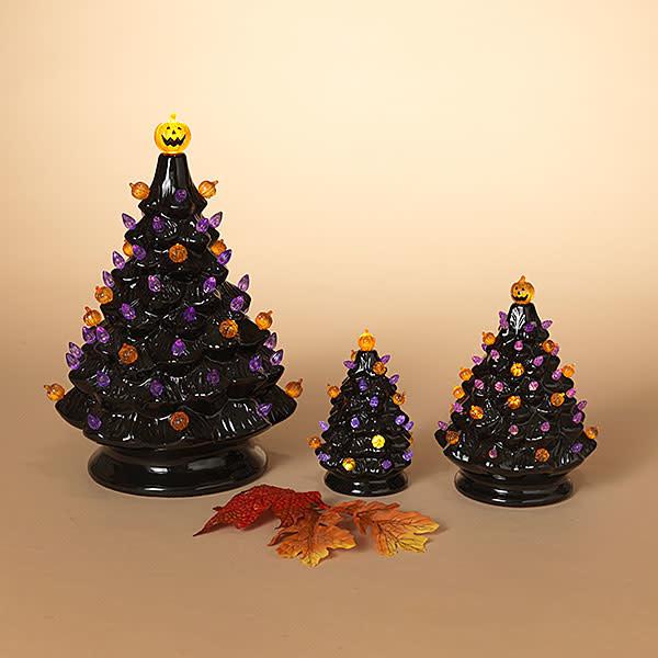Fleurish Home Medium Old Fashioned Style Ceramic Halloween Tree w Colored Lights (B/O)