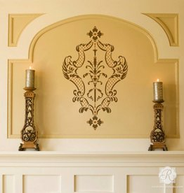 Royal Design Studios Villa Damask Furniture Stencil by Alison Woolley