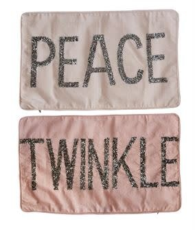 Fleurish Home Beaded Satin Pillow (Peace or Twinkle)