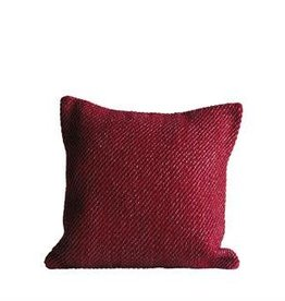 Fleurish Home Woven Red Pillow w Silver Threads *last chance