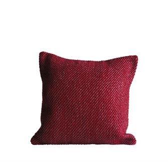 Fleurish Home Woven Red Pillow w Silver Threads