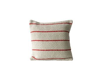 Fleurish Home Natural Colored Textured Pillow w Red Stripes