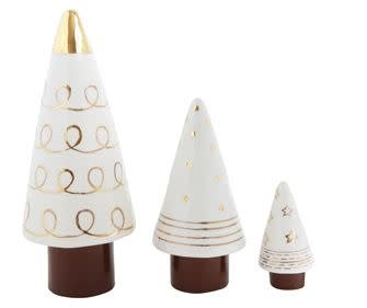 Fleurish Home Med White Stoneware Tree with Gold Electroplate
