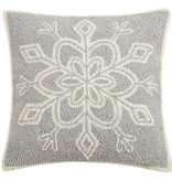 Fleurish Home Gray & White Snowflake Hook Pillow 16x16