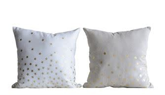 Fleurish Home Natural Pillow w Gold Dots
