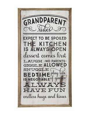 Fleurish Home Grandparent Rules Wall Art Sign