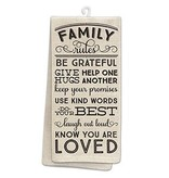 Fleurish Home Family Rules Kitchen Tea Towel