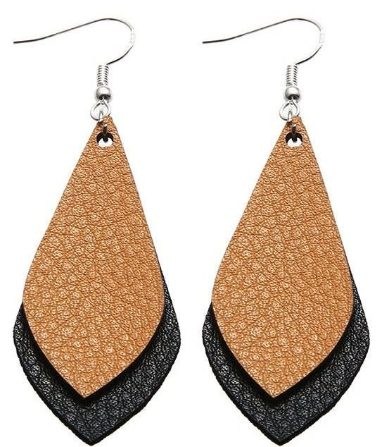 Double Drop Leather Earrings (8 colors)