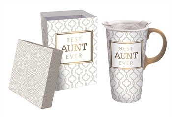Fleurish Home Best Aunt Ever Ceramic Travel Mug w Box