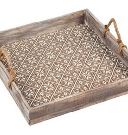 Fleurish Home Wooden Patterned Square Tray