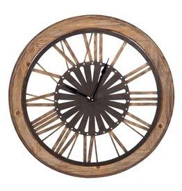 Fleurish Home Round Wood Wall Clock