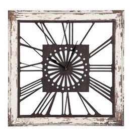 Fleurish Home Distressed White Wood Square Clock
