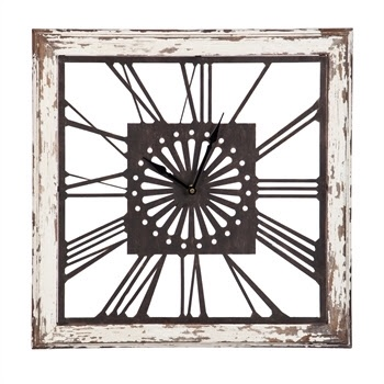 Fleurish Home Distressed White Wood Square Clock