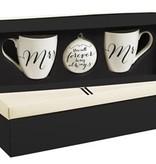 Fleurish Home Mr & Mrs Holiday Ornament & Mugs Gift Set
