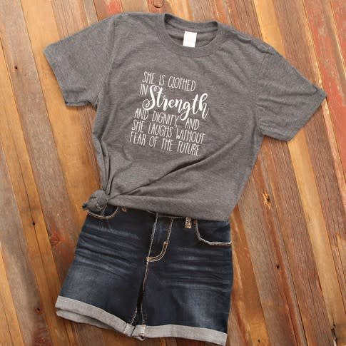 Fleurish Home Clothed in Strength & Dignity Quote Tee