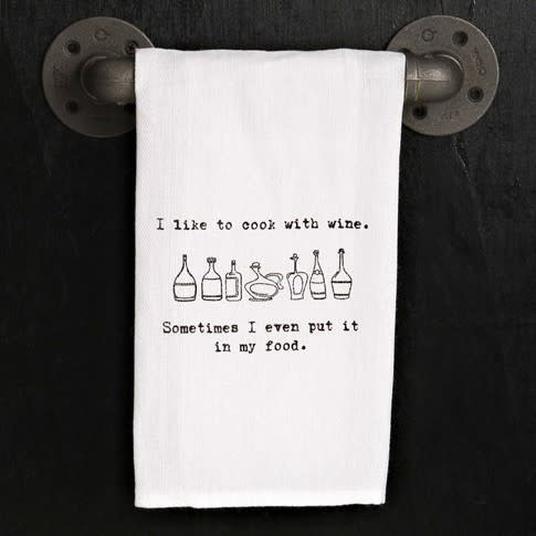 Fleurish Home Quotes Towel Cook with Wine .