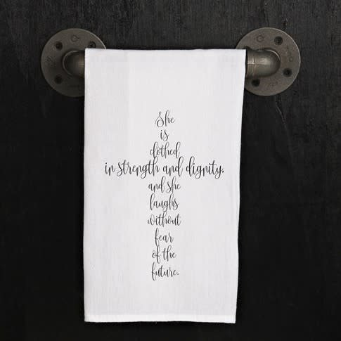 Fleurish Home Quotes Towel Clothed Strength Dignity (cross) .