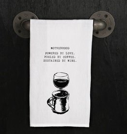 Fleurish Home Quotes Towel Motherhood: Love, Coffee, Wine *last chance